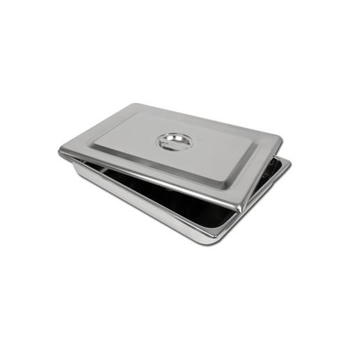 VASSOIO INOX + COPERCHIO 440X320X64