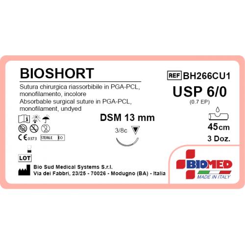 SUTURA BIOSHORT6/0 3/8C TRIAN DSM13MM 45CM INCOLOR