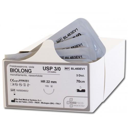 SUTURA BIOLONG 3/0 1/2C TONDO HRS26MM 70CM VIOLA