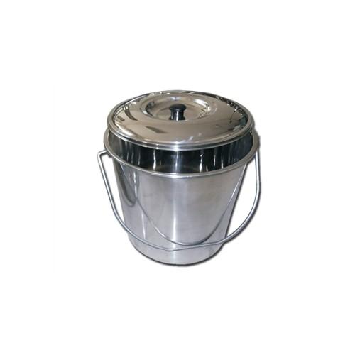 CESTINO ACCIAIO INOX CON COPERCHIO - 15 LITRI