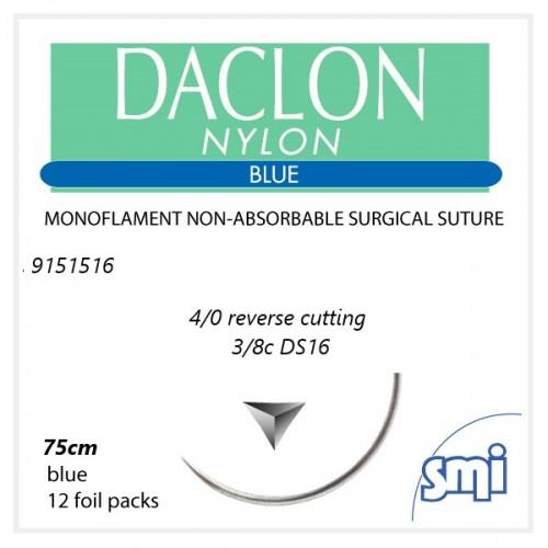 SUTURA DACLON 4/0 3/8C 75 CM BLU