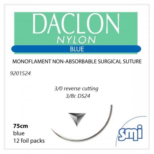 SUTURA DACLON 3/0 3/8C 75CM BLU