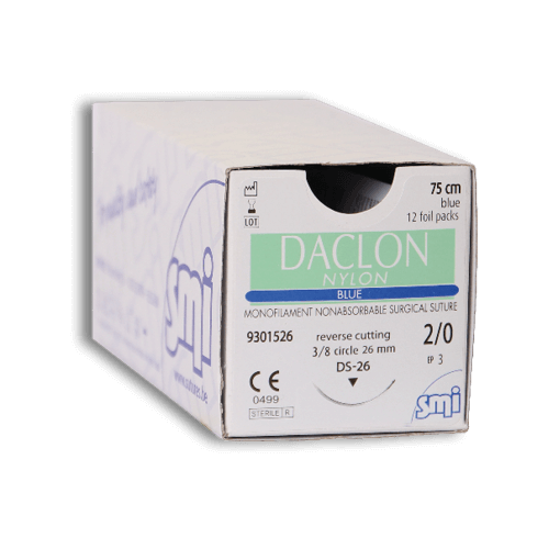 SUTURA DACLON  2/0 3/8C 75 CM BLU